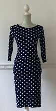 Red Chilli Long Sleeve Bellow Knee Blue & White Spotted Body Con Dress Size 10