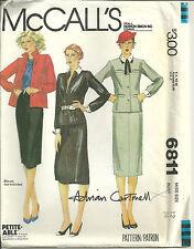 McCalls 6811 Designer Adrian Cartmell Vtg 1970s Suit Pattern Size 12 B34 Uncut