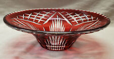 "Vintage Royal Brierley Ruby Cut to Clear Crystal Glass 11"" BOWL"