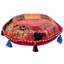 Indian Decor Ottoman Roundie Floor Pillow Pouffe Embroidered Floor Cushion Cover