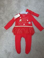 Brand new! F&F baby girls 0-3 up to 3 months My First Christmas tutu babygrow £9