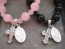 YOU PICK Single Decade Rosary Stretch Bracelet w Miraculous Religious Charm