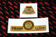 VW FLAT 4 VINTAGE PORSCHE 356 FRAM F3-P WATER DECAL SET OIL FILTER LID & BRACKET