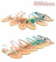 Women's Slip On Gold Plated Slingback T-Strap Flat Thong Sandal Size 6 - 11 NEW