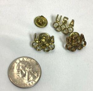 Vintage Gold Tone USA Olympics Push Back Pins Lot of 3