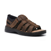 Mens Hush Puppies Spartan Leather Sandals Brown Casual Comfortable Summer Shoes