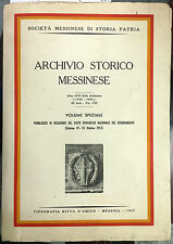 (Messina) ARCHIVIO STORICO MESSINESE  ANNO LVII-1956-1957 - III SERIE VOL. VIII