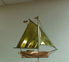 Beautiful copper/brass Sailboat weathervane, Top Only Fits over a 3/8'' top rod
