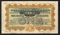 Australia 1917(18) War Savings Certificate for One Pound.. Collins signature