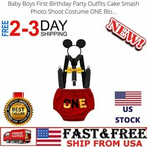 Baby Boys First Birthday Party Outfits Cake Smash Photo Shoot Costume ONE Blo...