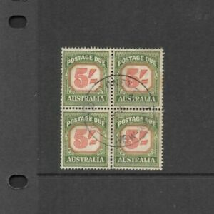 Stamps Australia 5/- Postage Dues Block of 4 Fine used