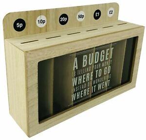 Wooden Money Box Slotted Coin Sorter Piggy Bank Organiser Saving Moneybox
