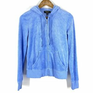 Juicy Couture Black Label Blue Zip Hoodie Velvet Track Top Size Medium