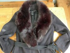 Regency cashmere black women's coat with faux fur collar size 8