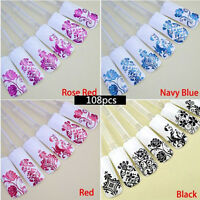6 Colors 108PCS 3D Flower Decal Stickers Nail Art Tip Manicure DIY Decoration