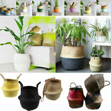 Multi Styles Foldable Seagrass Woven Belly Basket Bag Laundry Storage Holder NEW