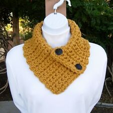 Mustard NECK WARMER SCARF Solid Gold Yellow Crochet Knit Small Buttoned Cowl