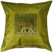 "XL Green 26"" Cushion Cover Silk Brocade Floor Pillow Elephant Throw Indian Decor"