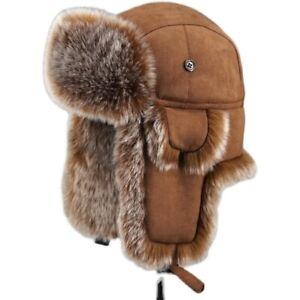 Men Trapper Hat Cap Ski Ushanka Cossack Faux Fur Suede Leather Winter Warm Hats