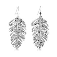 High Quality Girl Feathers Solid Drop Dangle Earrings Yellow Gold White
