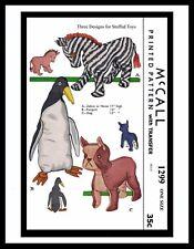 1299 McCall Fabric Pattern 4 Stuffed Animal Toys ZEBRA - HORSE PENGUIN DOG ~WOW~