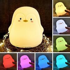 Veilleuse Bébé Lumière LED Portable en Silicone Pingouin 7 Couleurs changeant