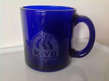 Kivu Coffee Company Cup Mug Cobalt Blue Glass Cafe Caffe Latte Set of 2