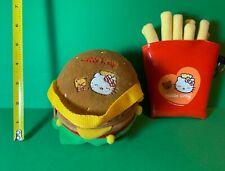 2003 Sanrio Hello Kitty French Fries Cheeseburger Coin Purse Key Ring Clutch