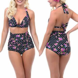 Bikini High Waist Swimwear Bikini Push Up Padded Bra Women Beach UK size 8-22