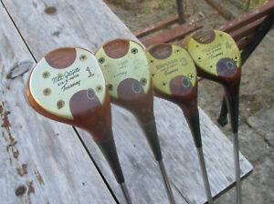 Vintage Set of 4 MacGregor Oil Hardened Persimmon Rec No M85 Woods Golf Clubs