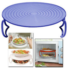 ROUND MICROWAVE MICRO OVEN PLATE DOUBLE SERVING TRAY SHELF PLASTIC FOLDING LID
