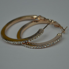 Hoop Earrings Rhinestone Creoles 3,4 Cmo Goldoder Silver Coloured