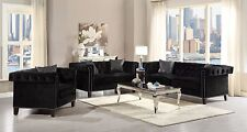 DAZZLING MODERN BLACK VELVET NAIL HEAD SOFA LOVE SEAT LIVING ROOM FURNITURE SET