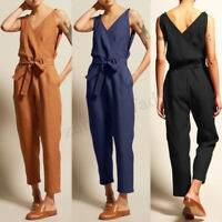 UK Women Sleeveless V Neck Lace-up Jumpsuits Playsuits Loose Cotton Long Pants