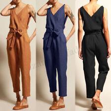 UK Women Sleeveless V Neck Lace-up Jumpsuits Playsuits Loose Cotton Long Pants