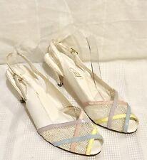 Vtg. 60's Women's Sling Back Peek-A-Boo Shoes White & Pastel Colors Sz. 9 1/2M