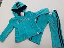 NEW Girls Size 6  Adidas Aqua Blue  Velour Track Suit / Jogging Suit Set