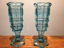Antique Pair Brilliant Block Flint Blue Glass Celery Vase Early American Pattern