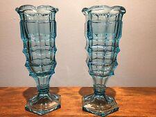 Antique Pair Brilliant Block Flint Blue Glass Celery Vase Early American Pattern