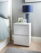 Norsk 2 Drawer White High Gloss Bedside Table Perfect For Your Home - White