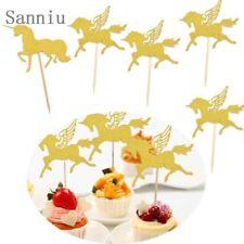 5x Pegasus Gold Glitter Cupcake Topper Pick For Wedding Birthday Party Cake