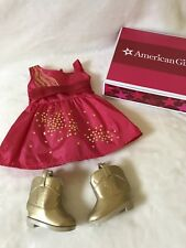 American Girl Saige's Sparkle Dress With Boots & Necklace