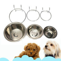 Pet Stainless Steel Feeding Hanging Bowl Dog Cat Food Water Cage Dish Cup S/M/L