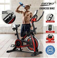 GENKI Spin Bike Exercise Bike Flywheel Cycling Home Workout w/LCD Monitor Black