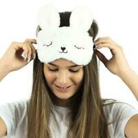 Ladies Girls Eye Mask Travel Beauty Sleep Cooling Gel Fluffy Animal Pad Fun G9Y4