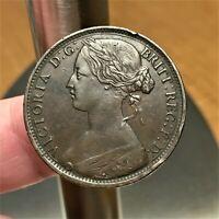 1863 Great Britain Penny, Queen Victoria, KM# 749.2, XF+