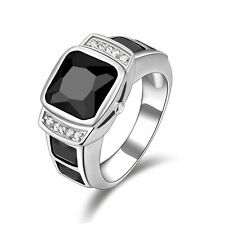 Jewelry Size 11 Halo Black Sapphire 18K Gold Filled Engagement Men's Ring Gift