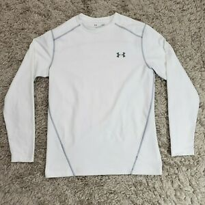 Under Armor Mens White Long Sleeve Fitted Cold Gear Compression Shirt Sz L