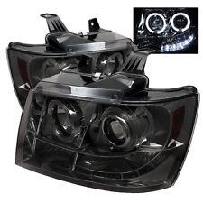 Chevy 07-14 Tahoe Avalanche Suburban Smoke Dual Halo LED Projector Headlights