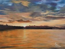 """Original Oil Painting """"Sunrise On The Columbia"""" 18""""x 24"""" Oil on Canvas - Framed"""